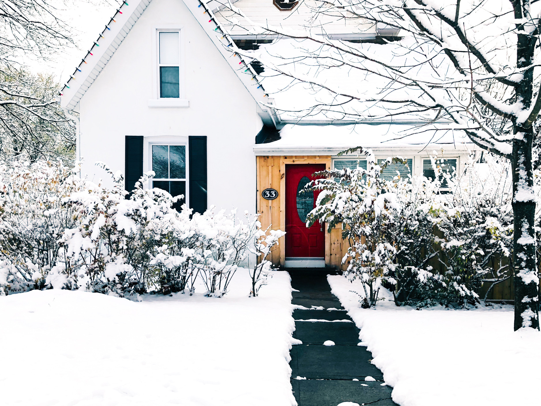 winter snow on a house